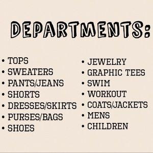 🛍 Departments 🛍